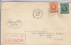 1940, Rutherfield, England to San Jose, CA, Censored, See Remark (C3547)