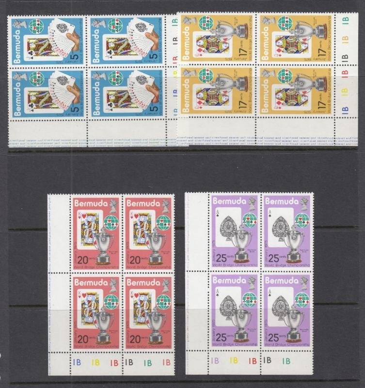 BERMUDA # 312-315 VF-MNH PLATE BLOCKS OF 4 PLAYING CARDS & CUPS