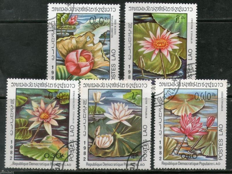 Laos 1982 Flowers Water Lilies Lotus Flora Sc 367-71 Cancelled # 250