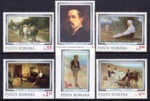 Romania 1977 Nicole Grigorescue Paintings Complete Mint MNH Set SC 2705-2710
