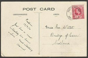 SIERRA LEONE 1910 postcard - Freetown to UK.................................7641