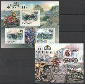 TG1052 2011 TOGO TRANSPORT MOTORCYCLES BIKES LES MOTOCYCLES BL+KB MNH