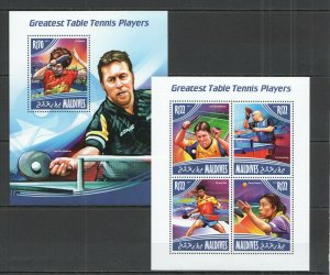 ML445 2014 MALDIVES SPORT GREAT TABLE TENNIS PLAYERS XIAOXIA WALDNER KB+BL MNH