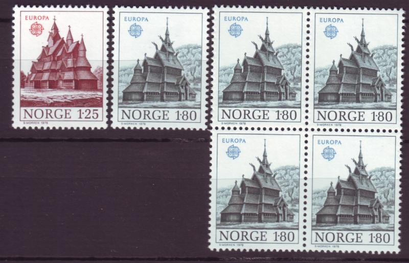 J18416 JLs stamps 1978 norway set mnh #727-8 + 728 blk/4 europa