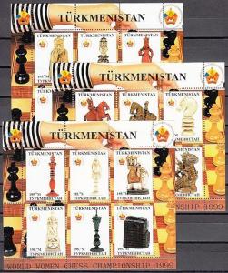 Turkmenistan, 1999 Russian Local issue. Women`s Chess Championship, 3 sheets/6.