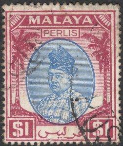 Perlis 1951 KGVI $1 Blue & Purple Used