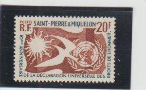 St. Pierre & Miquelon  Scott#  356  MNH  (1958 Human Rights)