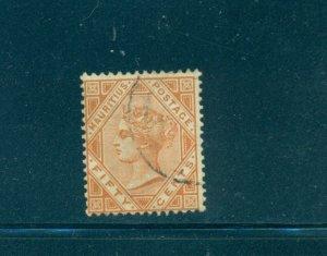 Mauritius - Sc# 75. 1887 50cent Victoria. Used. $20.00.