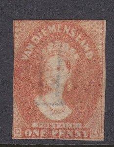T98) Tasmania 1857-67 1d Dull vermillion wmk double lined numerals SG 28