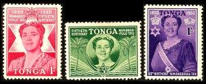Tonga Queen Salote's 50th Birthday Sg92/Sg94 Wmk MSCA MM
