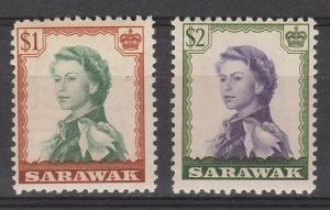 SARAWAK 1955 QEII $1 AND $2 MNH **