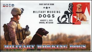 19-168, 2019, Military Working Dogs, Pictorial Postmark, FDC, Labrador Retriever