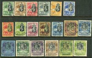 GAMBIA-1922-29  A fine used Multi Script set to 10/- Sg 122-142