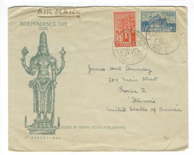 1949 India To USA Independence Day Cover (CC52)