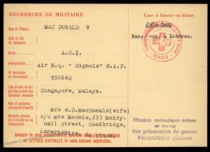 UK 1944 Singapore RAF Japanese POW Java Camp Red Cross Cover Catholic Swit 89257