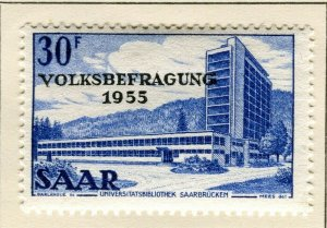 SAARLAND; 1955 early Referendum Fund issue fine Mint hinged 30f. value