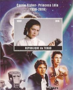Chad - 2016 Carrie Fisher, Princess Leia Stamp Souvenir Sheet - 3B-491
