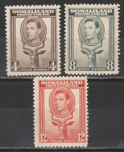 BRITISH SOMALILAND 1938 KGVI BUCK 4A 8A AND 12A