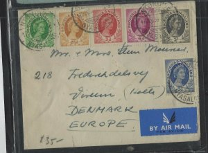 RHODESIA & NYASALAND (PP1302B)1956 QEII 1D-1/- 6 VALUES COVER SENT NTONDWE TO DE
