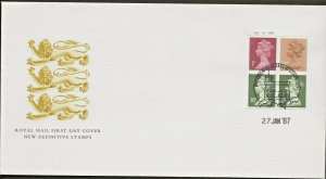 27/1/1987 50p ROMAN BRITAIN BOOKLET 3 PORTCHESTER-NEW PHOSPHOR INK CYL.NO.FDC