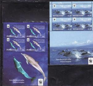 Penrhyn - Dolphins on Stamps - Set of 4 Sheets w/4 Stamps Each 16A-003