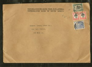 South Africa Postmarked 1949 Netherlands Bank of South Africa Cover #65 61a & 57
