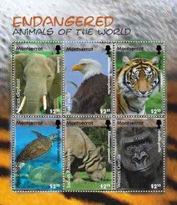 Montserrat - Endangered Animals 6 Stamp Sheet - MOT0809