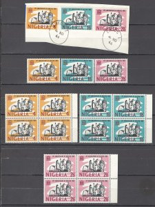 COLLECTION LOT OF # 951 NIGERIA # 204-6 1966 (6STAMPS + 2 BLOCKS OF 4) CV +$38