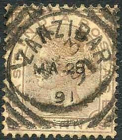 Zanzibar SGZ60 6a Pale Brown Z5 Squared Circle dated 28th May 1891
