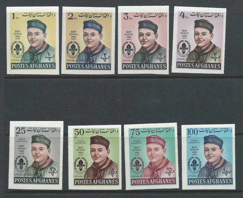 Afghanistan 623-6, C32-5 Scouts imperf,VF MNH . 2018 CV $27.50