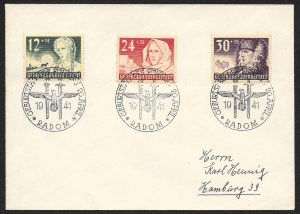 POLAND Sc#NB5-7 Cover canceled 1941 Radom to Hamburg