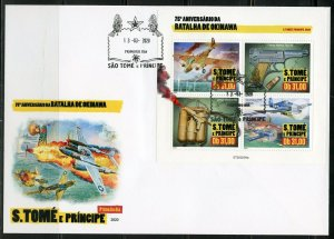 SAO TOME 2020 75th ANNIVERSARY BATTLE OF OKINAWA SHEET FIRST DAY COVER