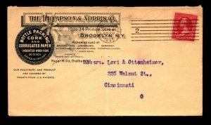 1895 Thompson Morris Bottle Packing Advert Cover / Light Fold - L9662