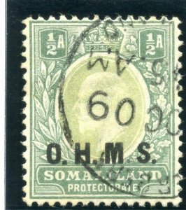 Somaliland 1904 KEVII Official ½a dull green & green VFU. SG O10. Sc O11.