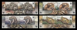 Tajikistan 2017 wild cats animals manul wwf 4v+coupones MNH