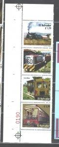 EL SALVADOR   2000  TRAINS  Set. #1542 a-d  MNH (ONLY 2 SETS  SHEET MARGINS)