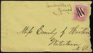 US #65 ON COVER, stamp is nice, canceled on cover, SUPER NICE early postal hi...