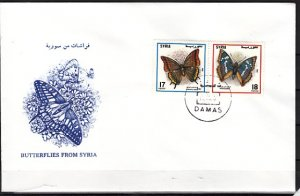 Syria, Scott cat. 1462. Butterflies issue. First day cover. ^