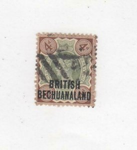 BR. BECHUANALAND (MK5035) # 73 VF-USED 4d  QUEEN VICTORIA /BROWN-GREEN  CV $23