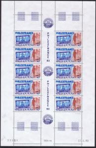 Wallis and Futuna 'Philexfrance 82' Stamp Exhibition Full Sheet PM SG#395 SC#282