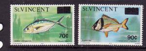 St Vincent-Sc#463-4-unused NH set-Fish-Marine Life-1976-