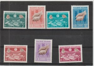 Maldive Islands  Scott#  117-123  MH  (1963 Freedom from Hunger)