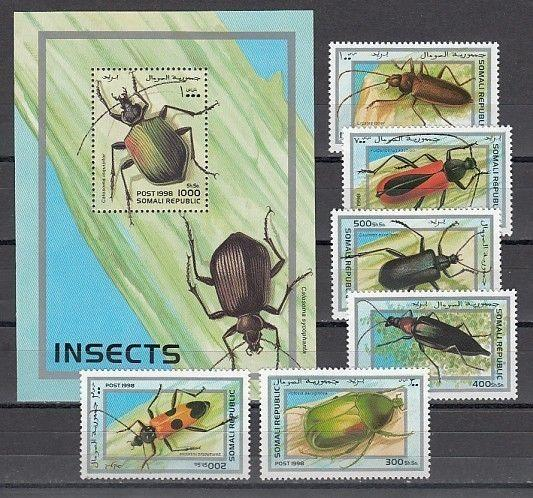 / Somali Rep. 1998 issue. Beetles set and s/sheet.