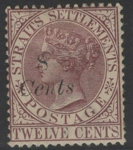 MALAYA STRAITS SETTLEMENTS SG75 1884 8c on 12c BROWN-PURPLE MTD MINT