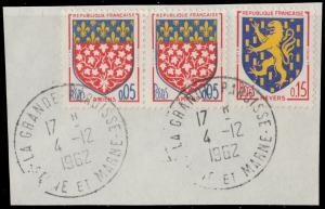 FRANCE 1962 CàD  LA GRANDE PAROISSE / SEINE ET MARNE  sur Yv.1352 (x2) & 1354