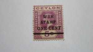STAMP OF CEYLON USED HINGED WAR TAX STAMP 1 CENT