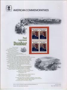 US CP49 Paul Dunbar 1554 Commemorative Panel Mint