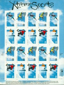 US: 1999 XTREME SPORTS; Complete Sheet Sc 3321-24; 33 Cents Values, Snow Board