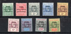 Togo 1916 Anglo French Overprint mint MH short set to 5/- WS14063