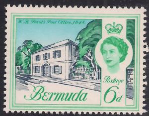 Bermuda 1962 - 68 QE2 6d Perots post office Umm SG 168 ( H1189 )